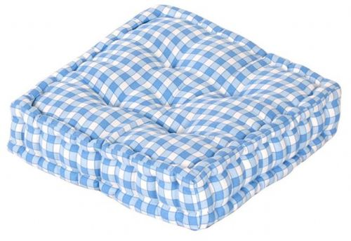 BLUE COLOUR GINGHAM CHECK DINING / GARDEN CHAIR BOOSTER CUSHION SEAT PAD
